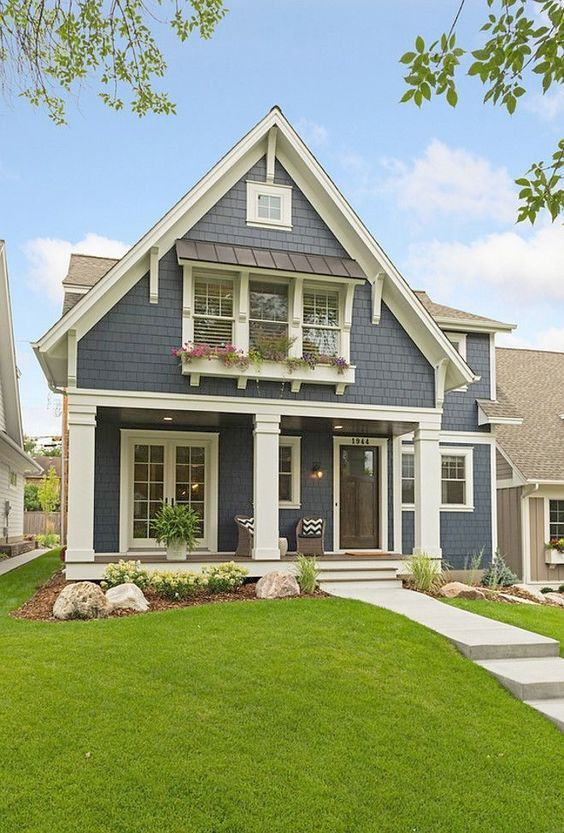 40 Best Modern Farmhouse Exterior Design Ideas - | Blue house