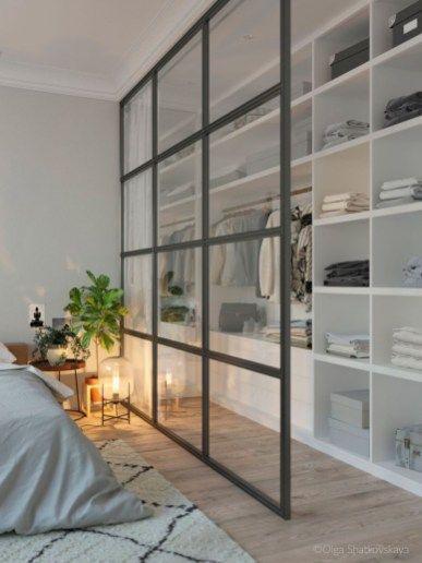 47 Brilliant Scandinavian Bedroom Design Ideas | Closet | Decoración