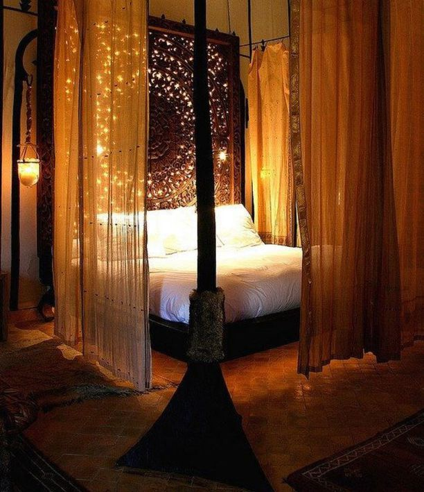60 Amazing Canopy Bed with Sparkling Lights Decor Ideas | Canopy