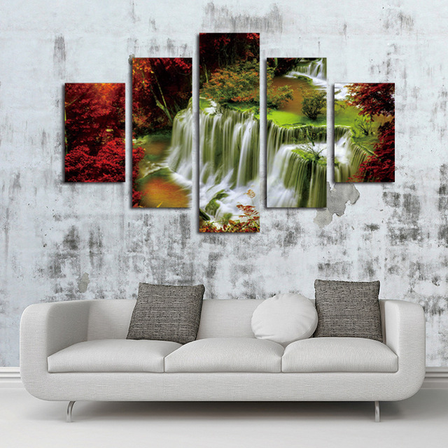 Custom Make 5 Panels Unframe Waterfall Painting Canvas Wall Art