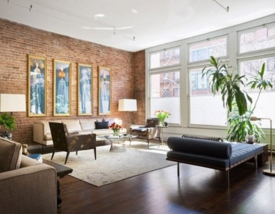77 Cool Living Rooms With Brick Walls - DigsDigs