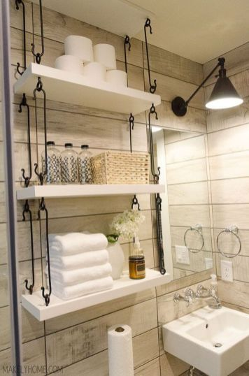 Rustic Country Bathroom Shelves Ideas 24 | Shelves | Rv bathroom