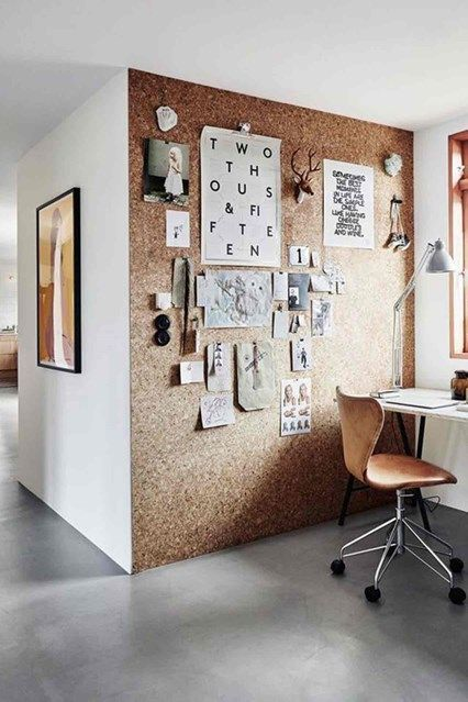 Cork Wall | CREATIVE SPACE | Home office design, Small home offices