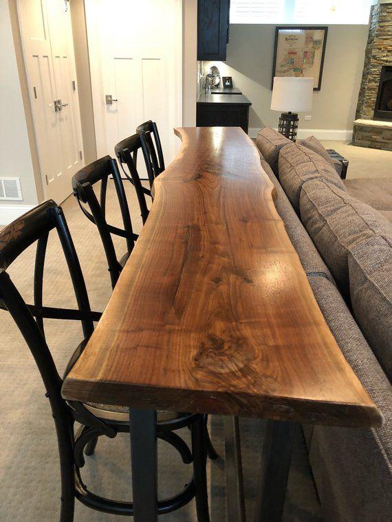 Live Edge Bar Table - Black Walnut Home Bar Top | Divine Home | Home