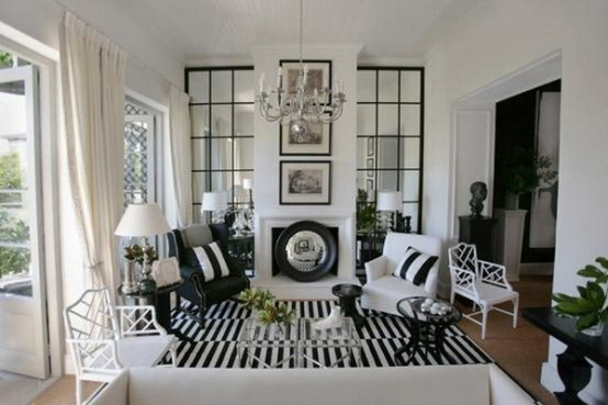 21 Creative&Inspiring Black And White Traditional Living Room