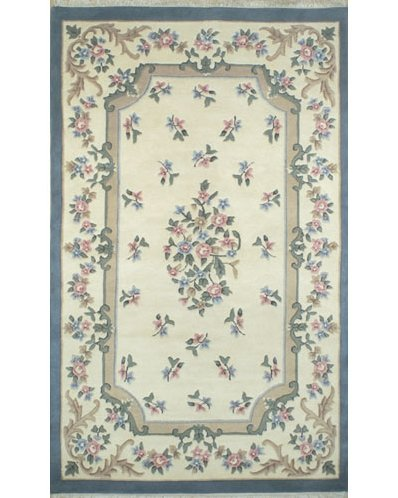 American Home Rug Co. French Country Aubusson Ivory/Blue Area Rug