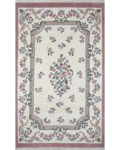 American Home Rug Co. French Country Aubusson Ivory/Rose Floral Area