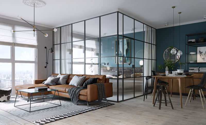 Black Framed Glass Walls Separate The Bedroom In This Kiev Apartment