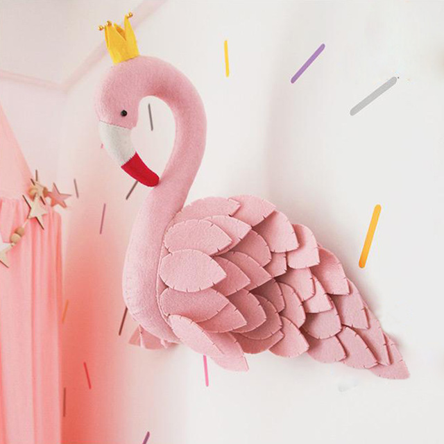 Handmade Pink Crown Swan Wall Decor Stuffed Doll Toys 3D Animal Head