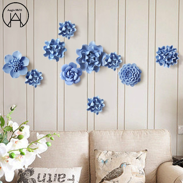 1 PCS Ceramic Flower Home Creative Wall Decoration Handmade Flowers