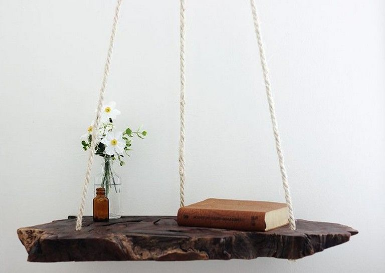 42 Awesome Hanging Side Table with Rope Design Inspirations #decor