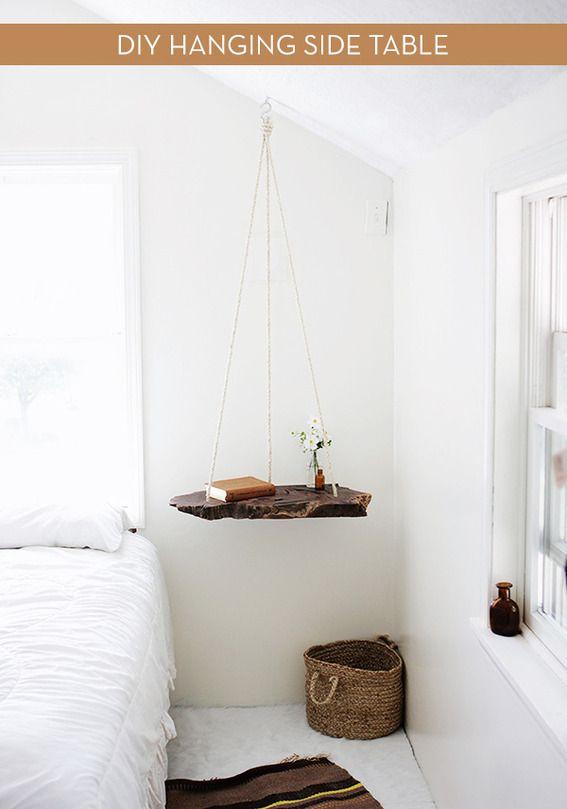 How To: Make a DIY Hanging Wood Slab Side Table   Bedrooms   Bedroom