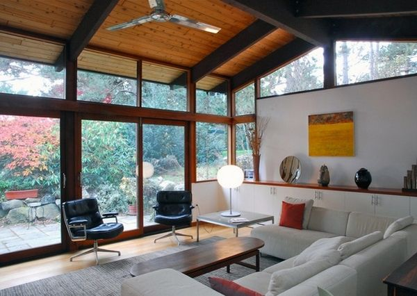vaulted ceiling design ideas exposed wooden beams modern living room