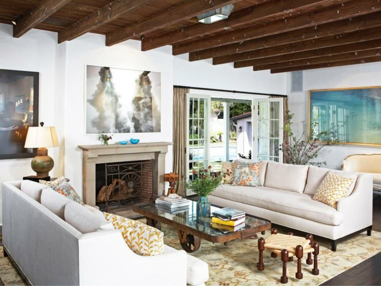 Living Rooms Design Ideas With Exposed Wooden Beams 8