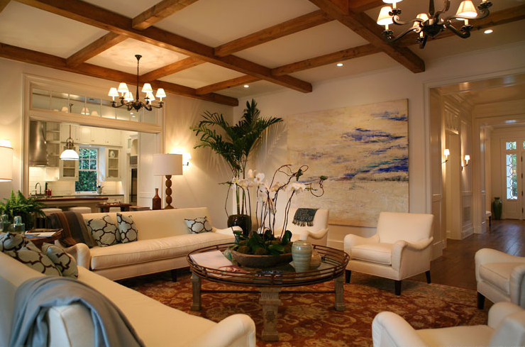 Exposed Beams Ceiling - Transitional - living room - Giannetti Home