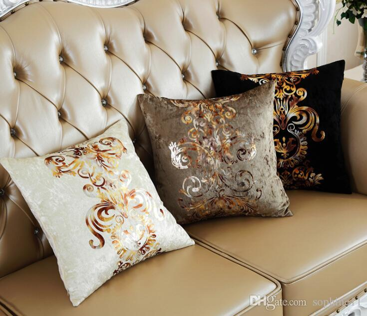 European Style Printing Cushion Cover Luxurious Bronzing Pillow