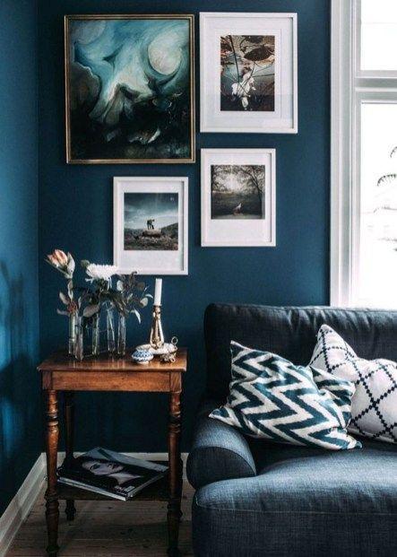 43 Cozy and Luxury Blue Living Room Ideas | Home decor | Dark living