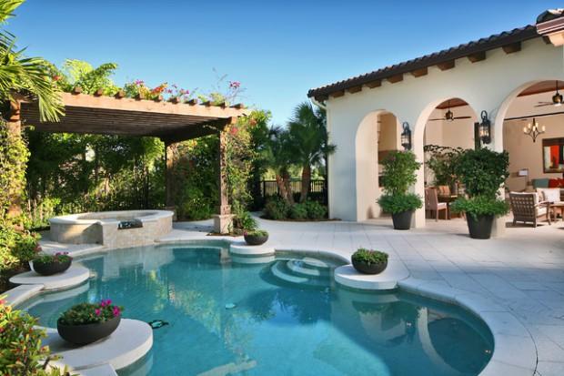 Landscaping Backyard Oasis- 18 Pool Design Ideas in Mediterranean