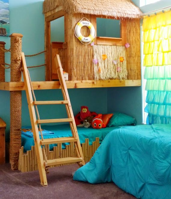 This darling bed and playhouse, is a bedroom themed for both