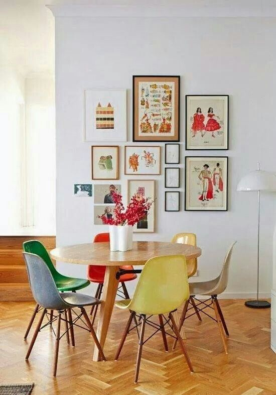 Multicolor dining chair | Deco | Eames chairs, Colorful chairs