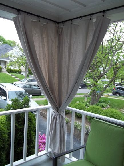 Canvas drop cloth curtains for screen porch, block out afternoon sun