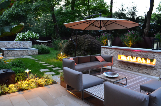 Modern Outdoor Fireplace Designs & Landscape Design NJ