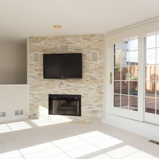 75 Most Popular Modern Basement with a Stone Fireplace Design Ideas