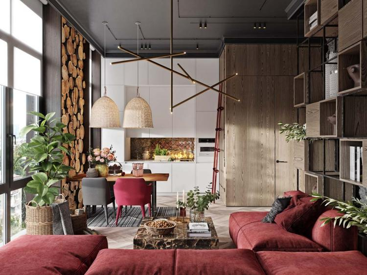 20+ Luxury Red Apartment with Rustic Accents Ideas