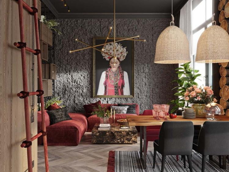 Red Apartment With Rustic Accents Ideas