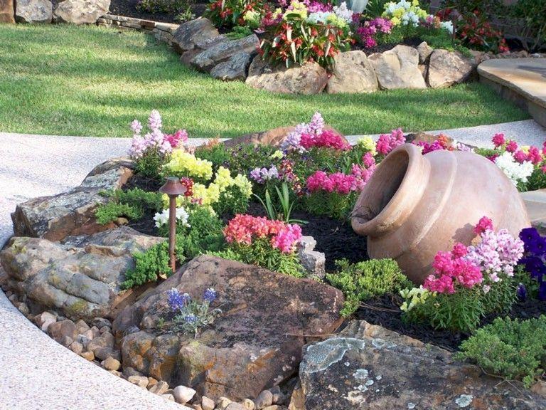 72+ Beauty Front Yard Rock Garden Landscaping Ideas | Garden