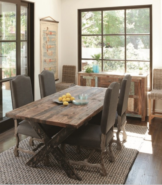 47 Calm And Airy Rustic Dining Room Designs - DigsDigs