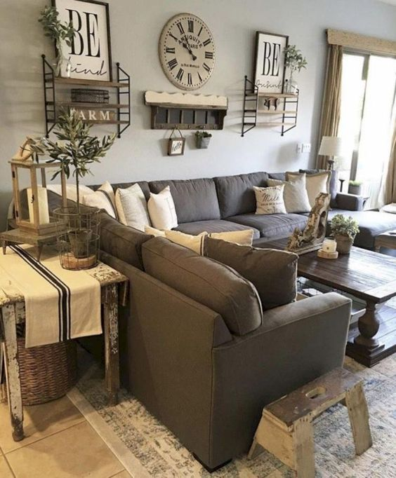 51 Rustic Farmhouse Living Room Design and Decor Idea -