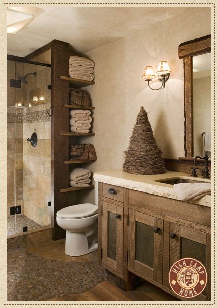Rustic Small Bathroom Wood Decor Design