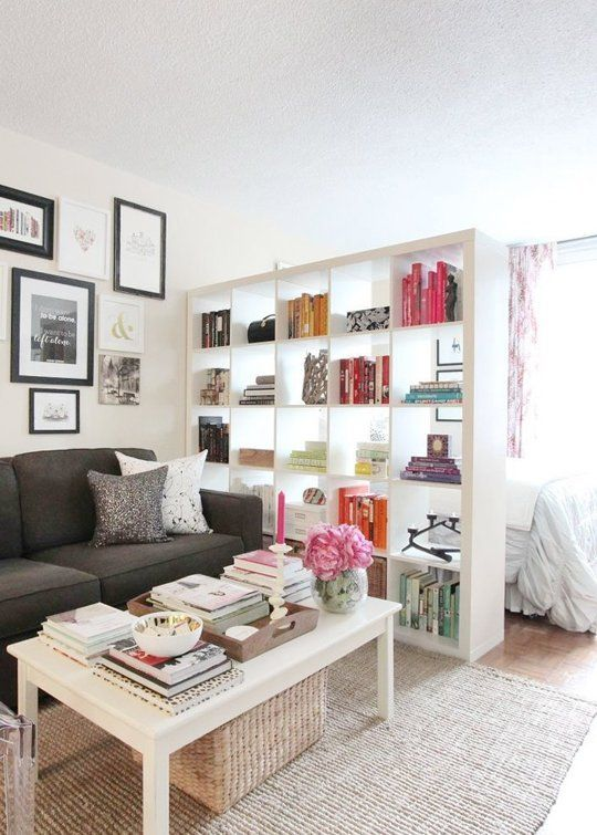 Attach a curtain to the backside of the bookcase to let in light
