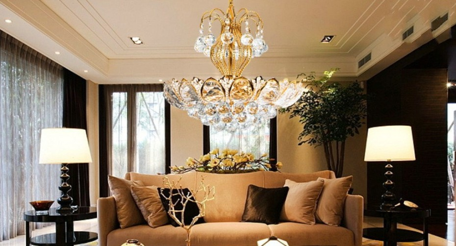 Luxury Home Designs: European Luxury Chandeliers Gold Crystal Living