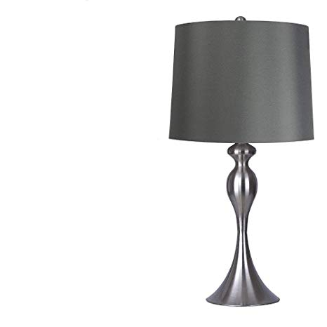 Table Lamps Pair Set of 2 Grey Elegant Stylish Decorative Lamps with