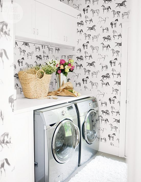 Wallpapered Laundry Rooms | Laundry Rooms | Laundry room wallpaper