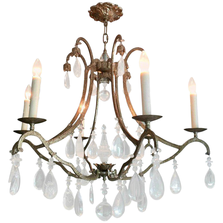 Traditional Dennis & Leen Iron and Rock Crystal Chandelier | Chairish