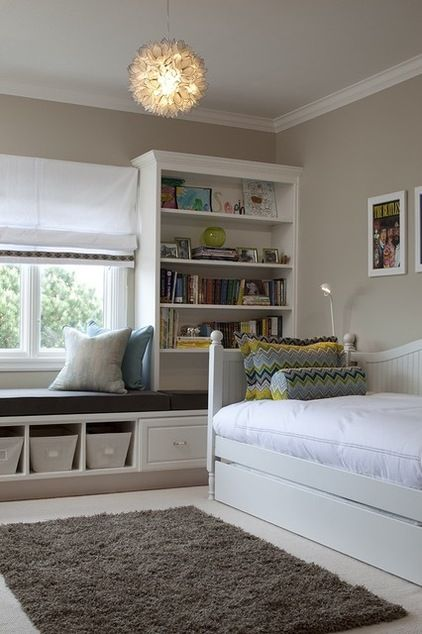 Windowseat and cubbies/bookshelves for storage in Lainey's room