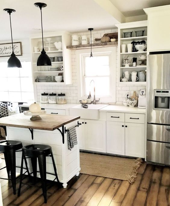 99 Inspirations Vintage Farmhouse Style Kitchen Island | Farmhouse