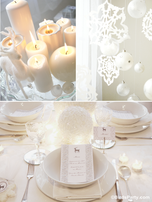 Christmas Party Ideas | White Winter Wonderland Dinner Party - Party
