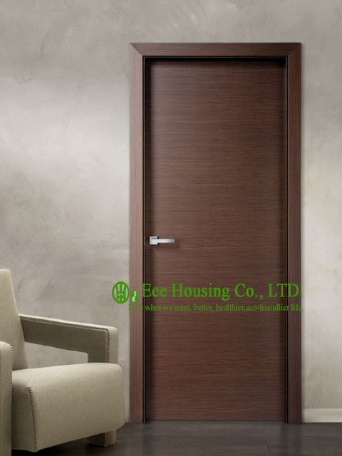 Modern Flush Wood Door For Sale, Walnut Veneer Interior Bedroom Door