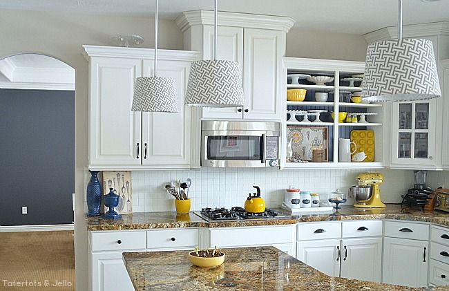 Create Kitchen Open Shelves | Kitchen ideas | Yellow kitchen accents