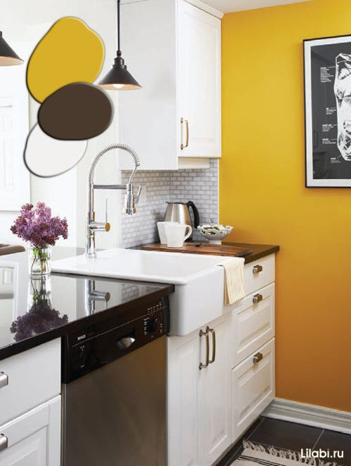 Pin by Галя Баршадская on Kitchen ideas | Yellow kitchen walls