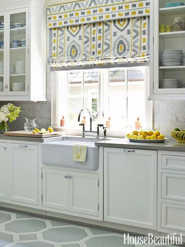 White Kitchen with Yellow Accents. fabulous roman shade in kitchen