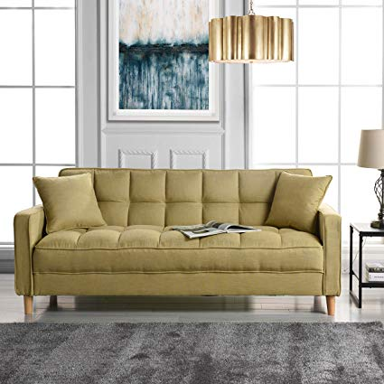 Amazon.com: Modern Linen Fabric Tufted Small Space Living Room Sofa