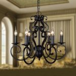 black chandelier in wrought iron