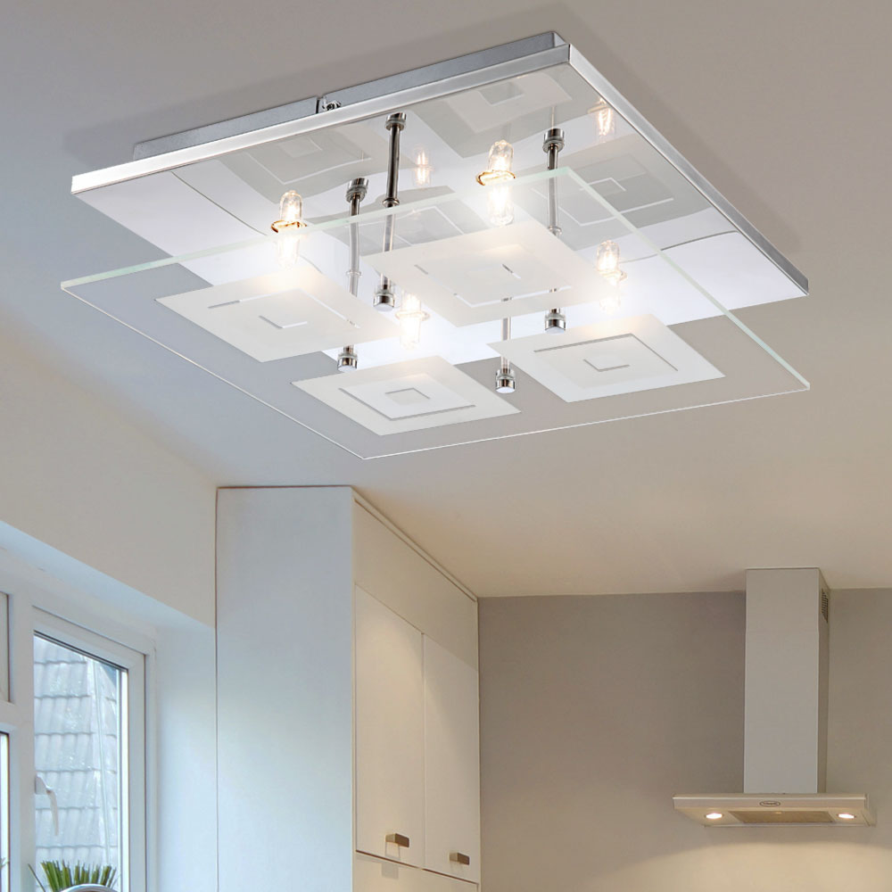 Ceiling-mounted lamp: provides light in a room
