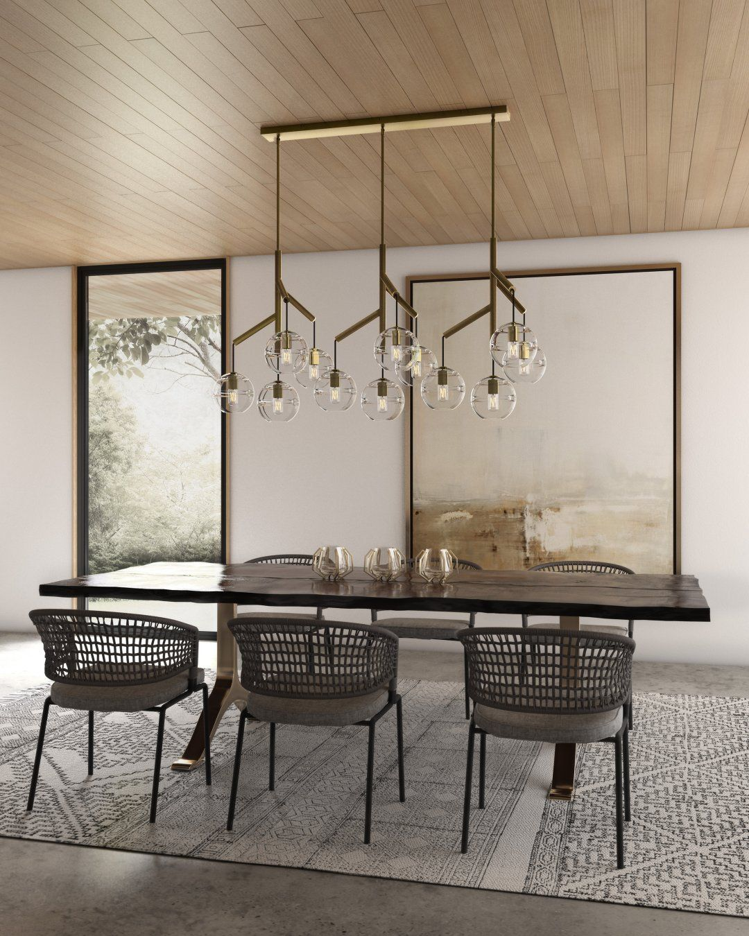 Chandeliers in a modern dining room