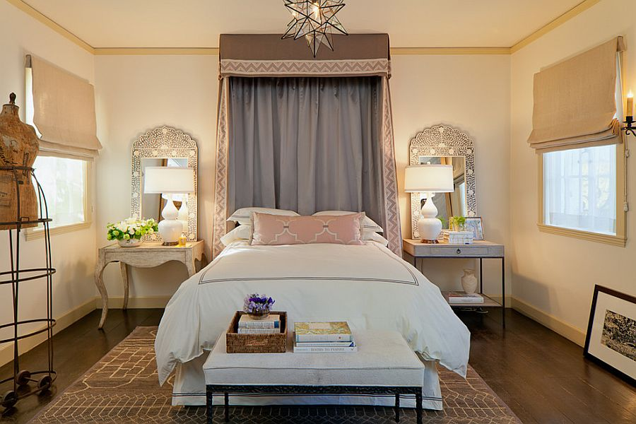 Decorate your room with high bedside lamps!